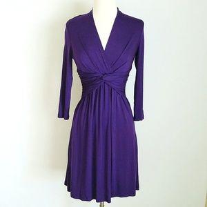 Boston Proper Violet Jersey 3/4-Sleeve Dress